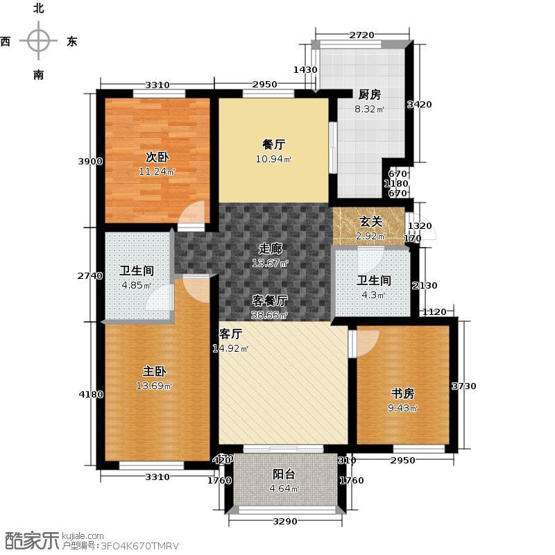 浅山香邑131.00㎡D1户型3室2厅2卫