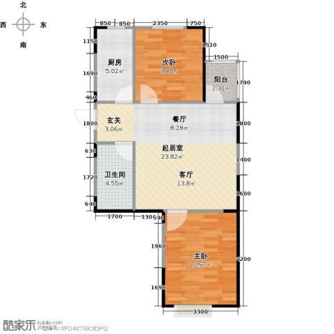 LOHAS上院7号公寓2室1厅1卫0厨78.00㎡户型图