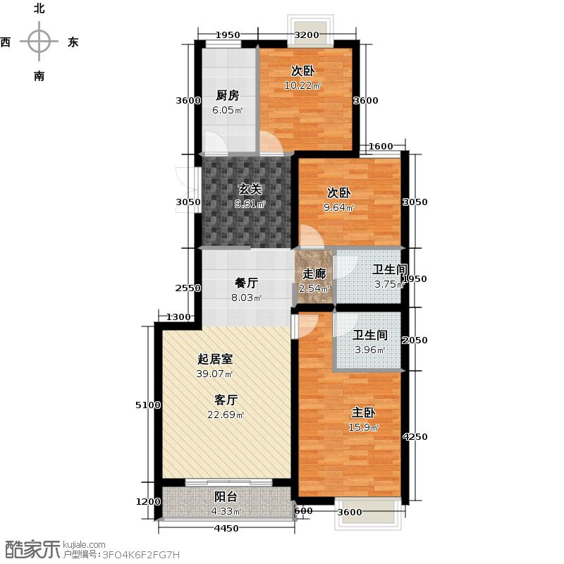 北京风景125.00㎡A户型3室2厅2卫