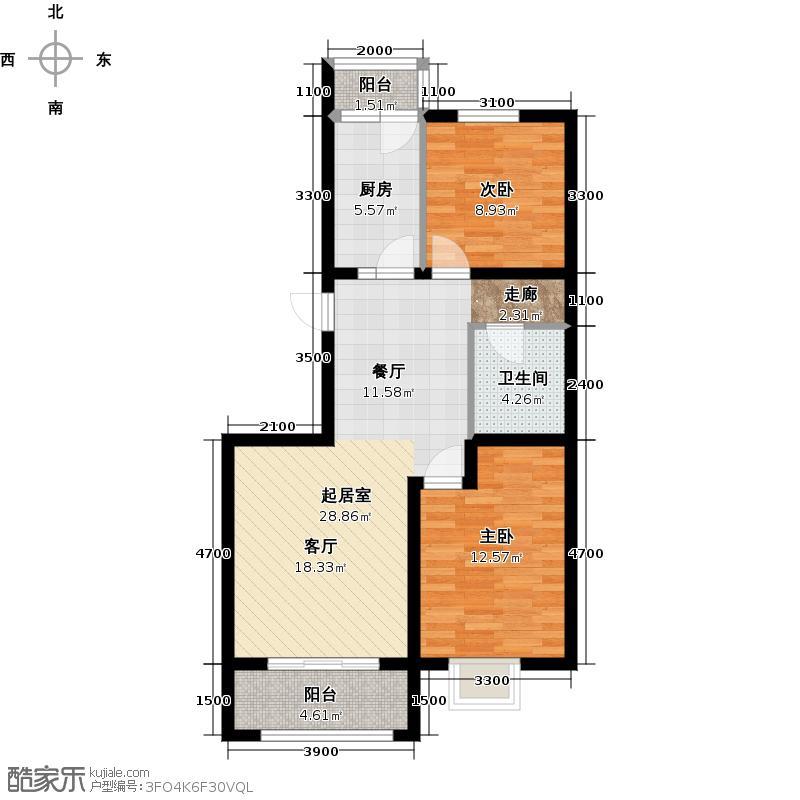 北京风景95.00㎡H2户型2室2厅1卫