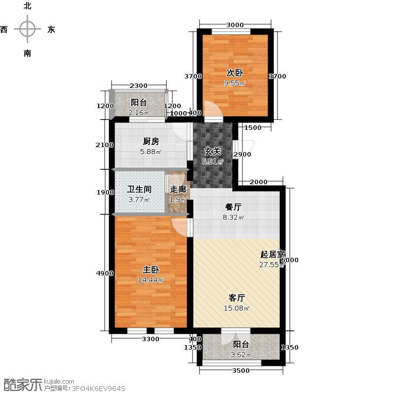 北京风景95.00㎡H1户型2室2厅1卫