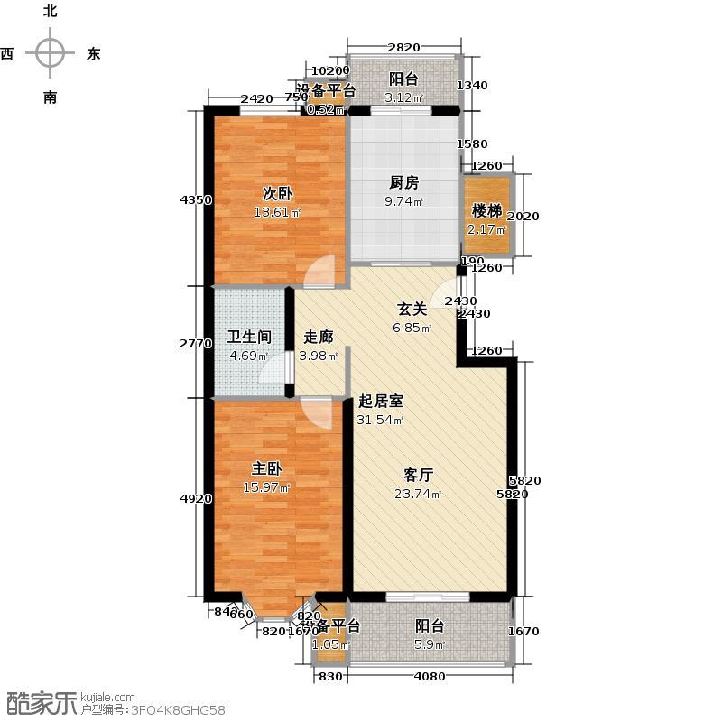 昊腾花园98.01㎡5#B(已售完)户型2室2厅1卫