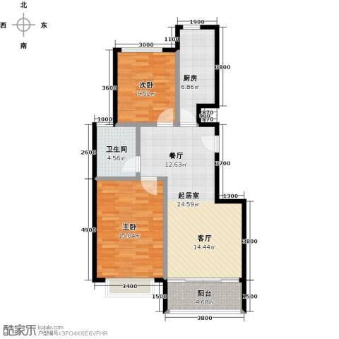 领秀慧谷2室2厅1卫0厨89.00㎡户型图