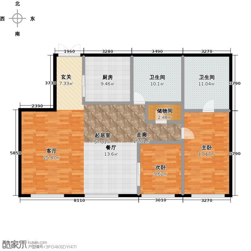 当代MOMA・历峰129.26㎡2居户型2室2厅1卫