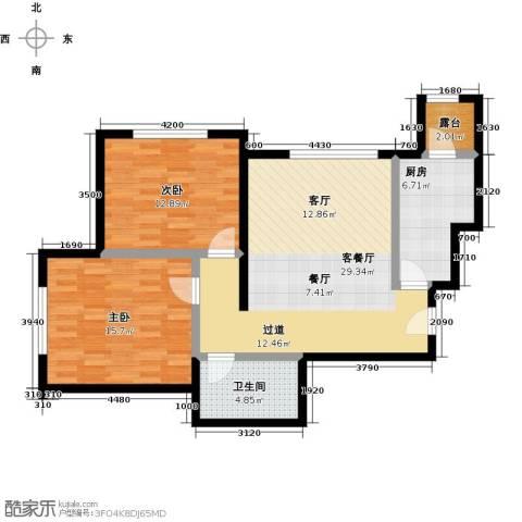融科钧廷二期2室2厅1卫0厨82.00㎡户型图