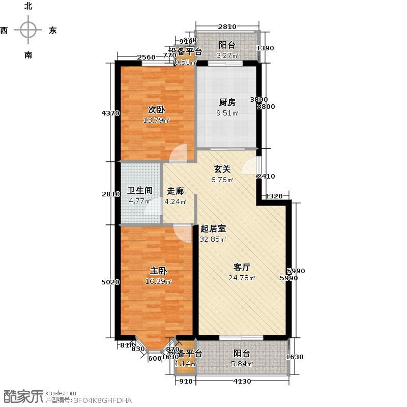 昊腾花园98.01㎡12#B已售完户型2室2厅1卫