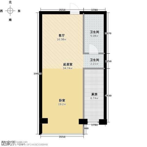 昊腾花园1室1厅1卫0厨52.00㎡户型图