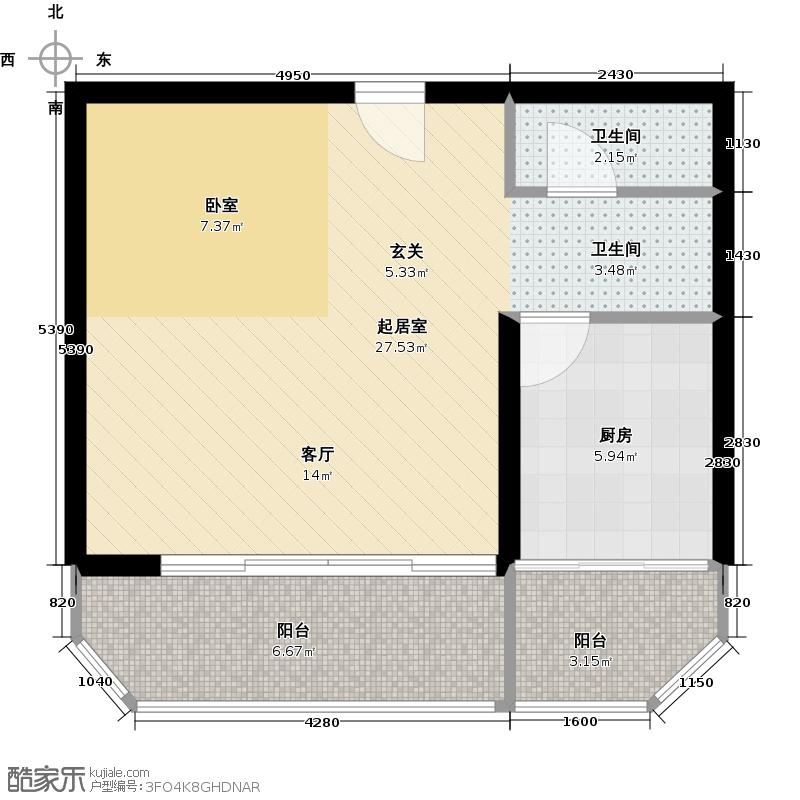 昊腾花园51.92㎡户型10室