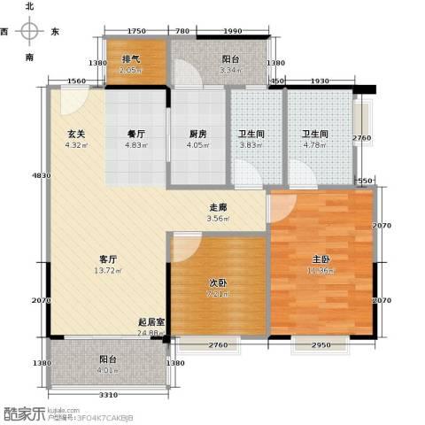 纯水岸2室2厅2卫0厨71.53㎡户型图