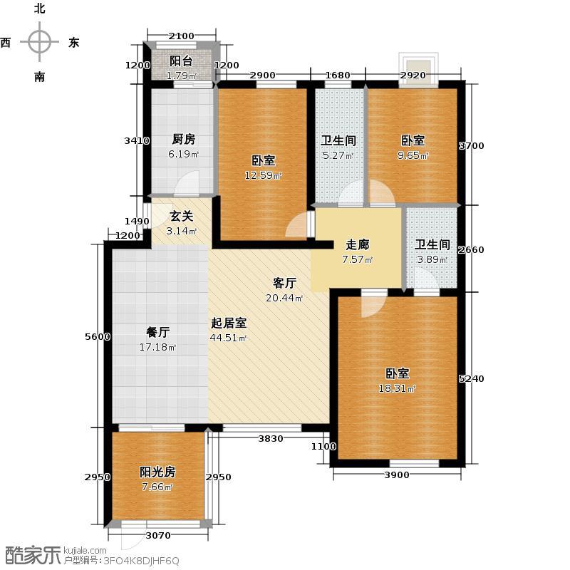 阿尔法社区139.00㎡二期花园洋房东1层户型10室