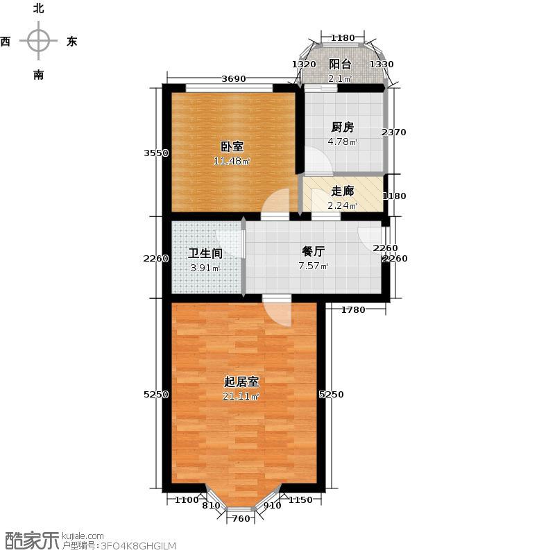 昊腾花园61.74㎡(已售完)户型1室1厅1卫