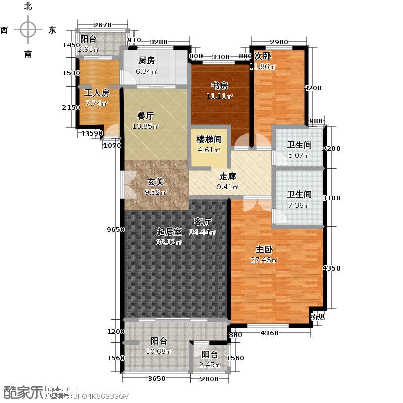 领秀・翡翠山201.00㎡F2一层户型3室2厅2卫