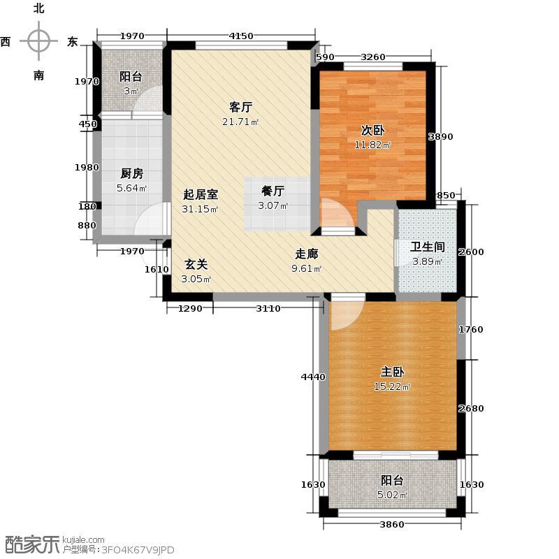 诚河新旅城87.00㎡三期G4户型2室2厅1卫