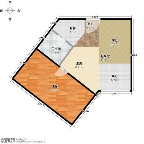 融汇新时代1室0厅1卫0厨61.00㎡户型图