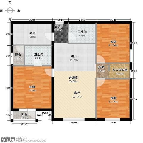 首开智慧社3室2厅2卫0厨135.00㎡户型图
