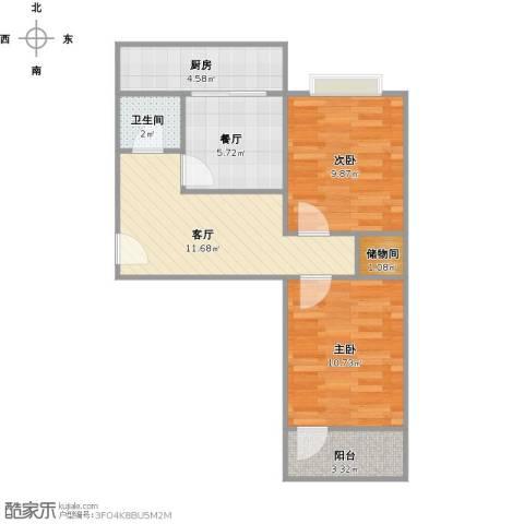 历山东路建委宿舍2室2厅1卫1厨68.00㎡户型图