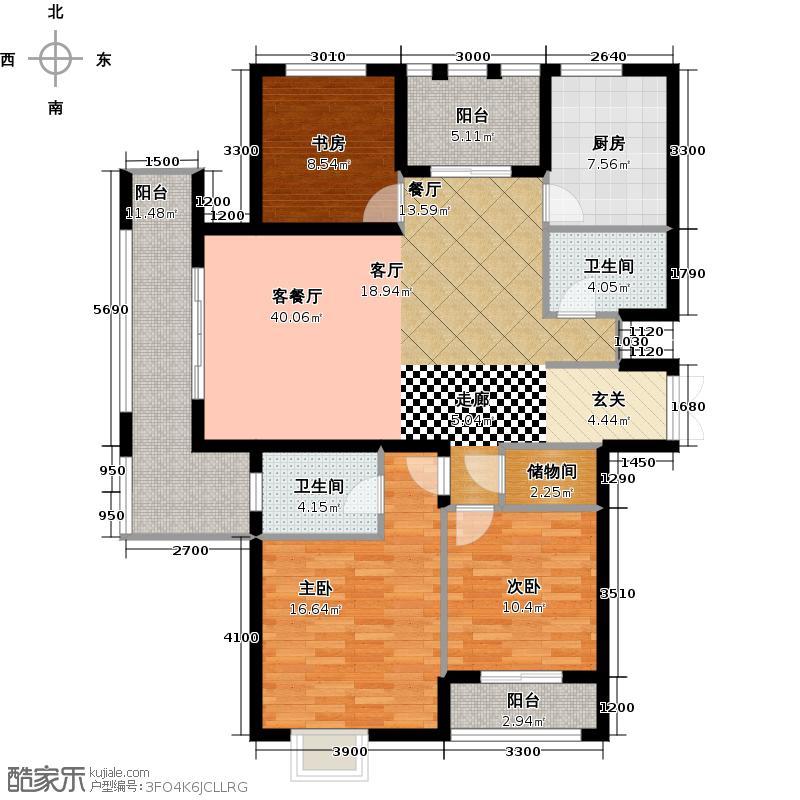 中乐百花公馆128.58㎡户型10室