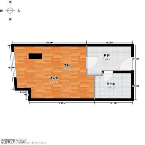 晓城天地1室1厅1卫0厨53.00㎡户型图