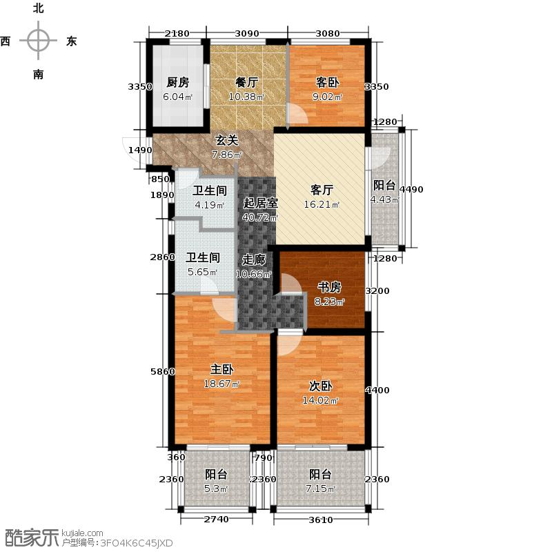 中天官河锦庭138.00㎡2、3、4、6号楼奇数层边套C赠送户型4室2厅1卫