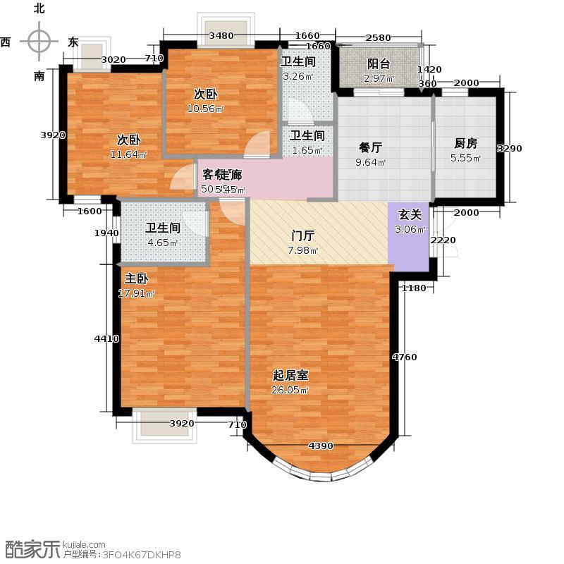 新华联运河湾148.40㎡B-1户型3室2厅2卫