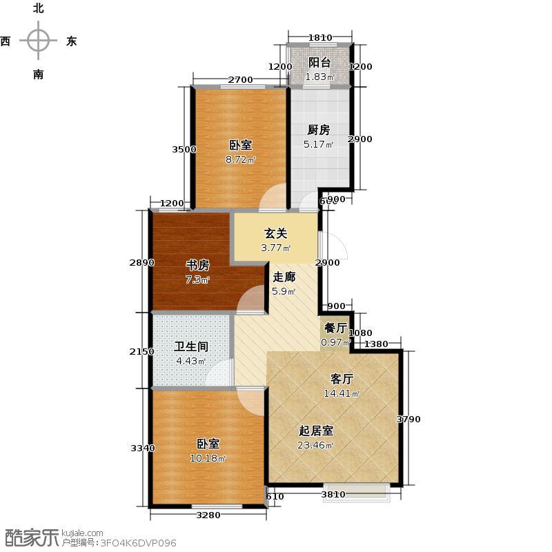 润枫领尚89.00㎡C1户型3室2厅1卫