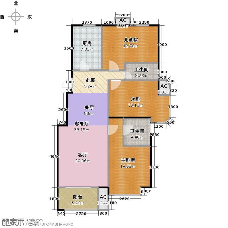 北京城建・海梓府105.78㎡C户型3室2厅2卫