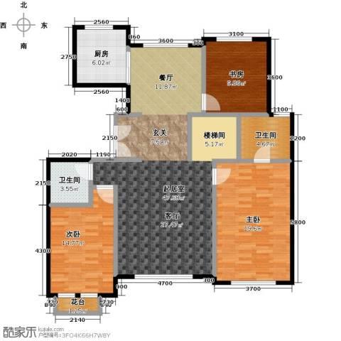领秀・翡翠山3室2厅2卫0厨143.00㎡户型图