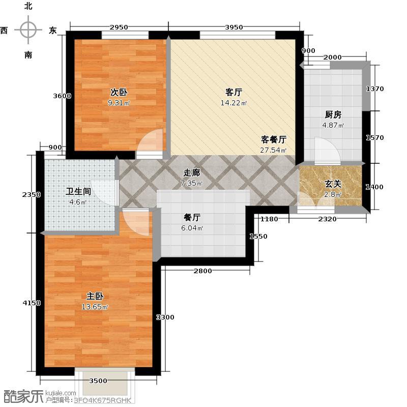 京贸国际城88.89㎡3号楼E5反户型10室