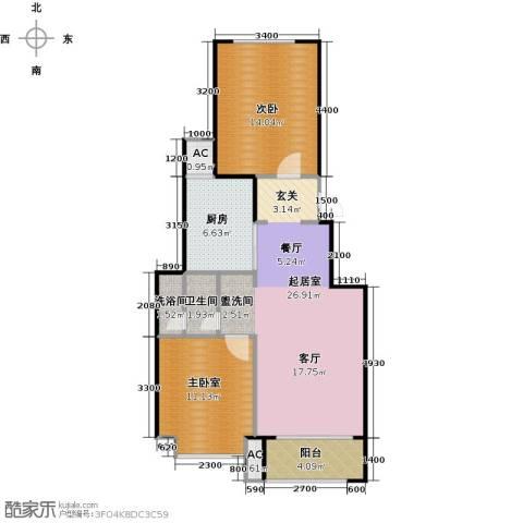 北京城建・海梓府2室2厅1卫0厨76.00㎡户型图