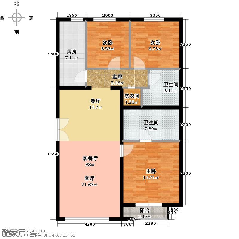 常楹公元131.00㎡C-2户型3室2厅2卫
