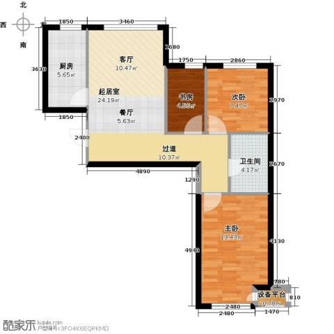 北京城建・上河湾3室0厅1卫1厨81.00㎡户型图