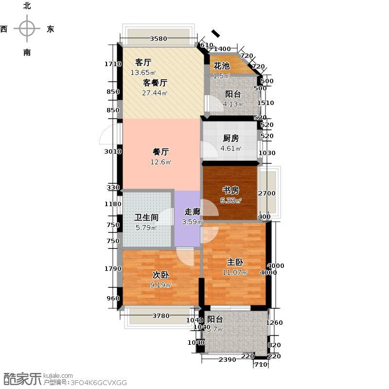 德圣博奥城86.00㎡A7户型3室1厅1卫1厨