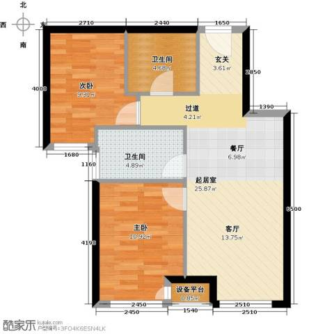 北京城建・上河湾2室0厅2卫0厨73.00㎡户型图