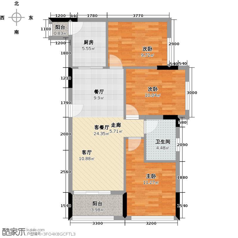 利海尖东半岛88.00㎡二期别墅区洋房D1户型3室2厅1卫