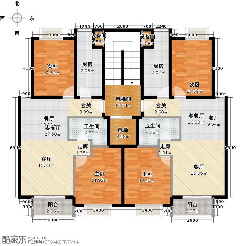 润泽悦溪88.00㎡A单元标准层平面图户型10室