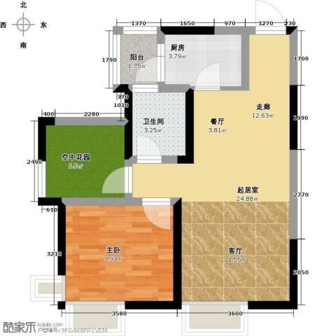 富通天邑湾一期1室2厅1卫0厨65.00㎡户型图