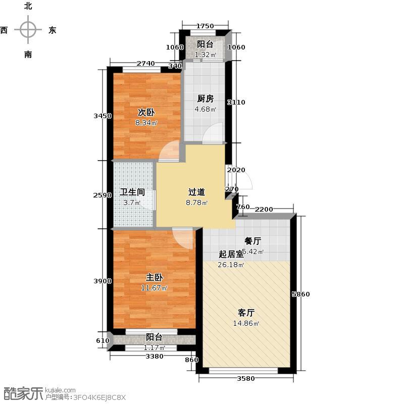 北京城建・上河湾84.00㎡E1户型2室1卫1厨