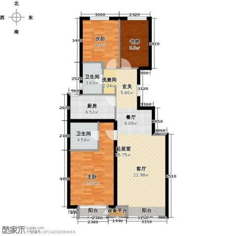 北京城建・上河湾3室0厅2卫1厨116.00㎡户型图
