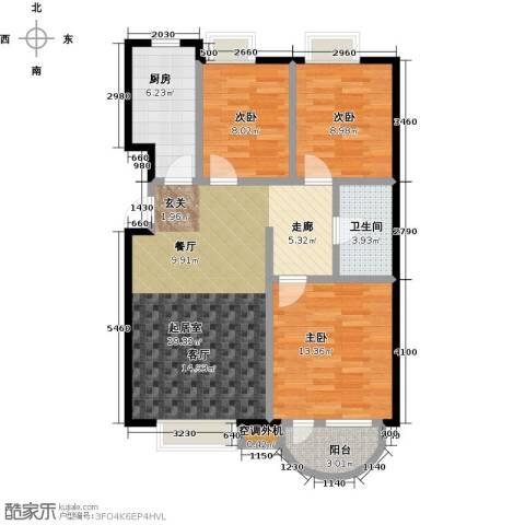 首创・澜茵山3室2厅1卫0厨99.00㎡户型图