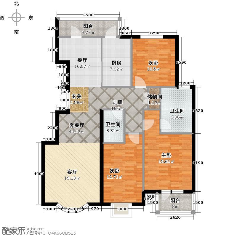 京洲世家136.50㎡E户型3室2厅2卫