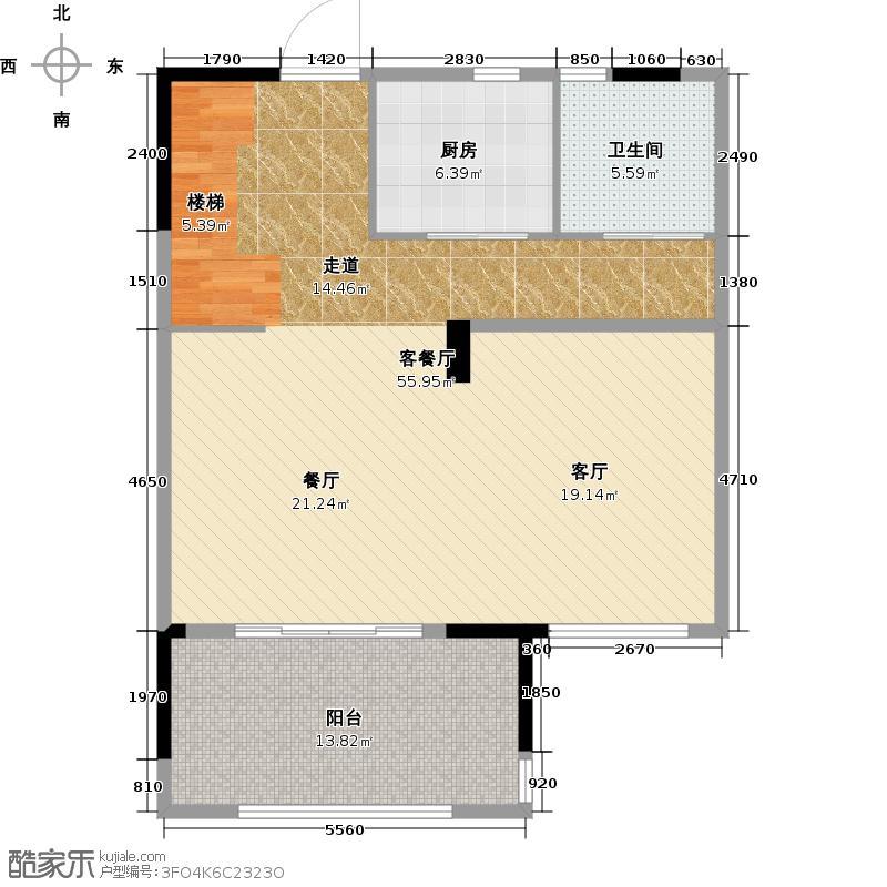 复地连城国际89.00㎡A2下层户型1室2厅2卫