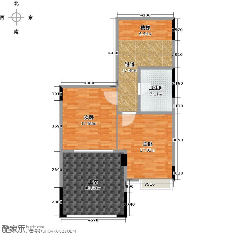 复地连城国际88.00㎡21号楼B-1下层户型2室2厅2卫