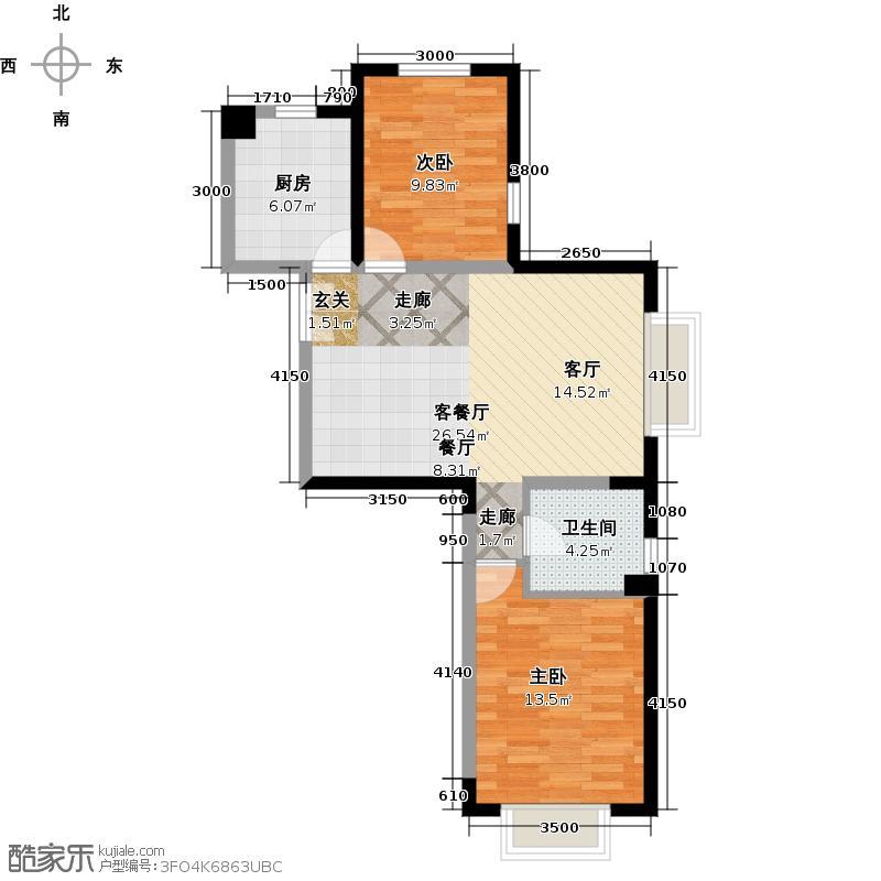 京贸国际城90.67㎡3号楼G户型10室