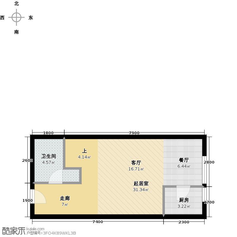 美立方57.00㎡loftL2G二层户型10室