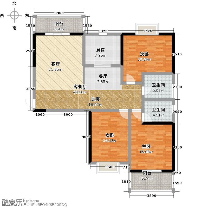宝龙城市广场135.00㎡5#6#7#8#A户型3室2厅2卫