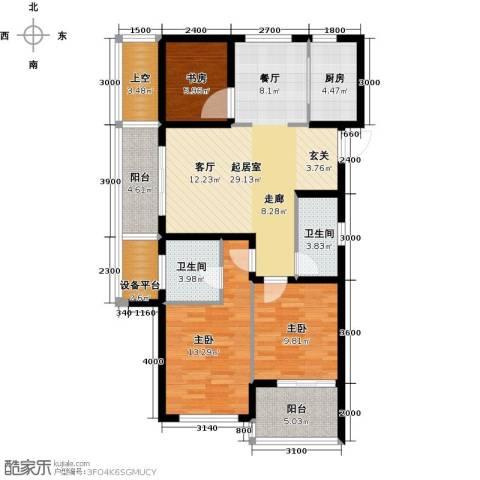 绿城之江1号3室2厅2卫0厨113.00㎡户型图