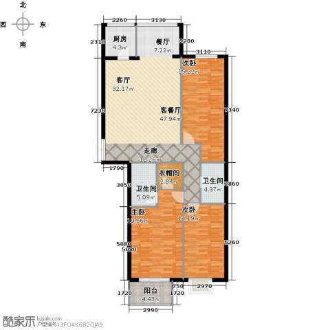 戛纳35号3室2厅2卫0厨161.00㎡户型图