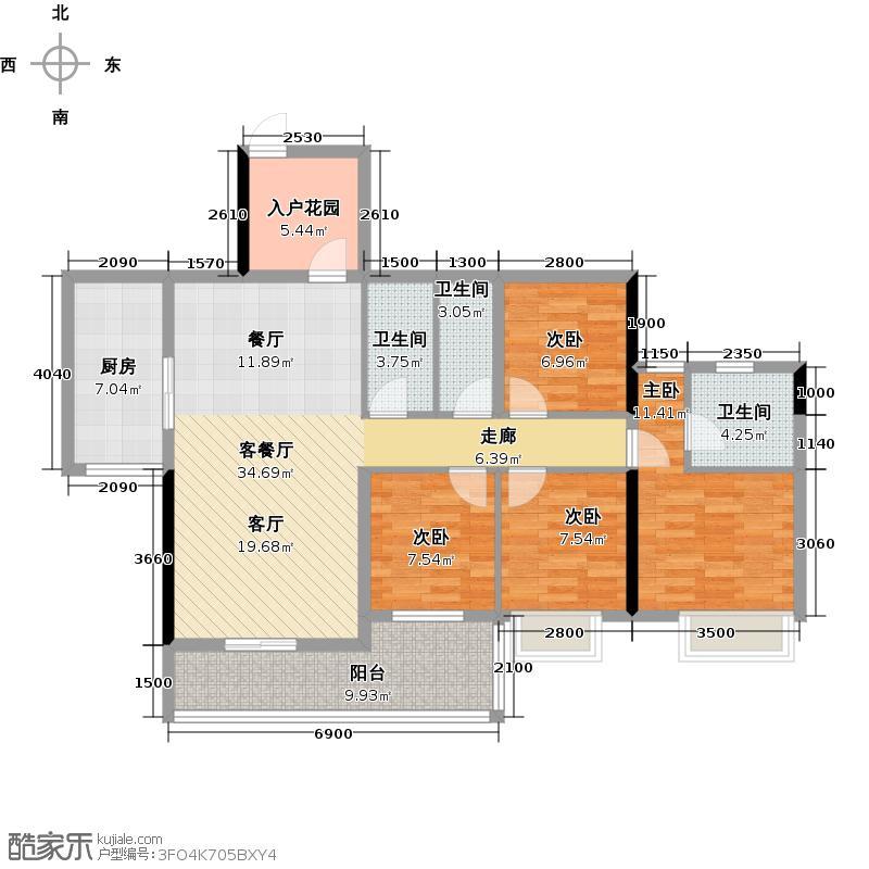 长信御景峰121.00㎡1栋03单元户型4室1厅3卫1厨