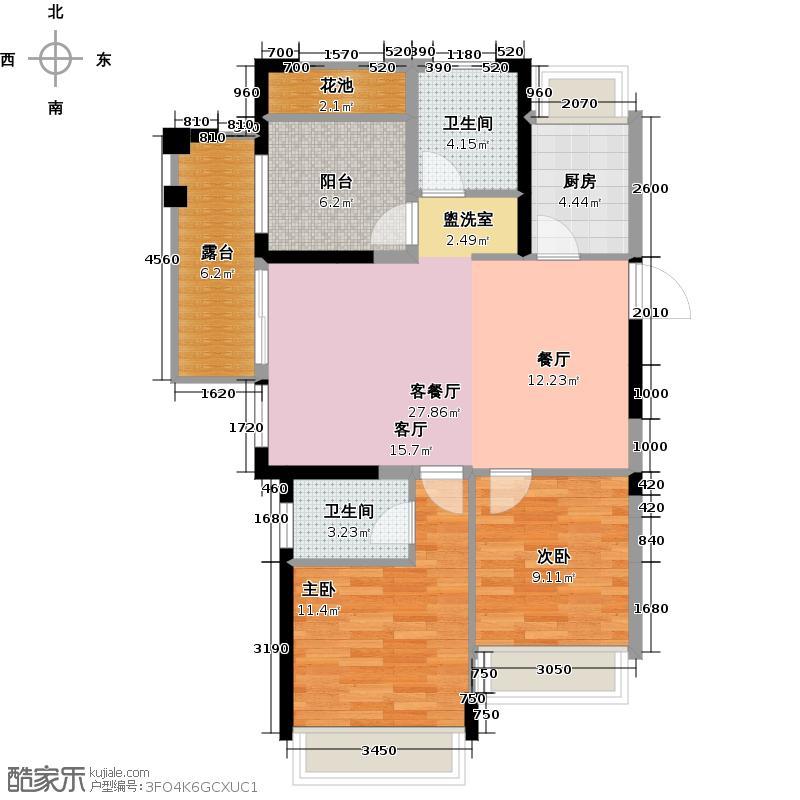 德圣博奥城89.00㎡A8户型2室1厅2卫1厨