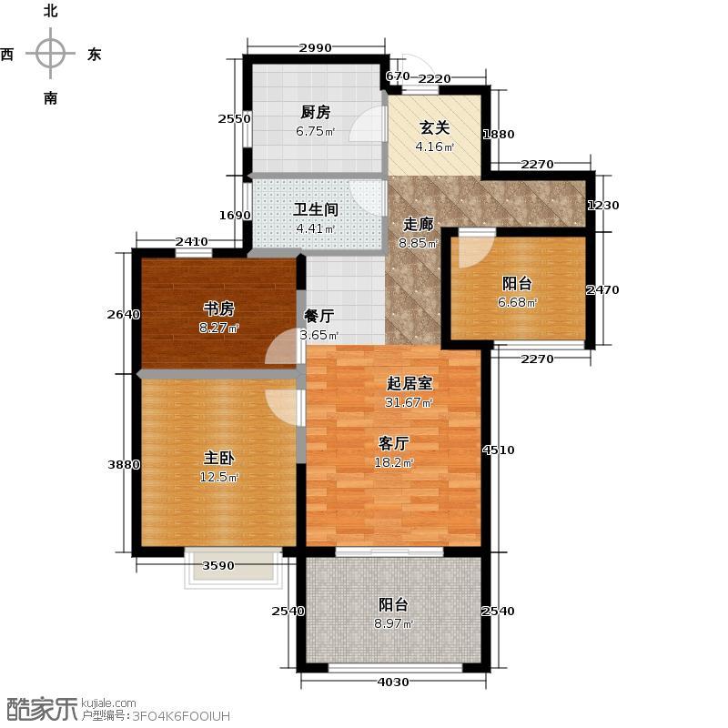 金地自在城89.00㎡杜拉拉的crossD-6b户型2室1卫1厨